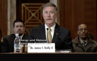 Former astronaut James Reilly testified at his confirmation hearing Tuesday. (Image courtesy Senate Energy Committee)