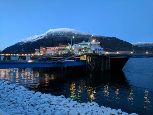 Ferry LeConte docks in Haines earlier this winter. (Photo by Berett Wilber/KHNS)