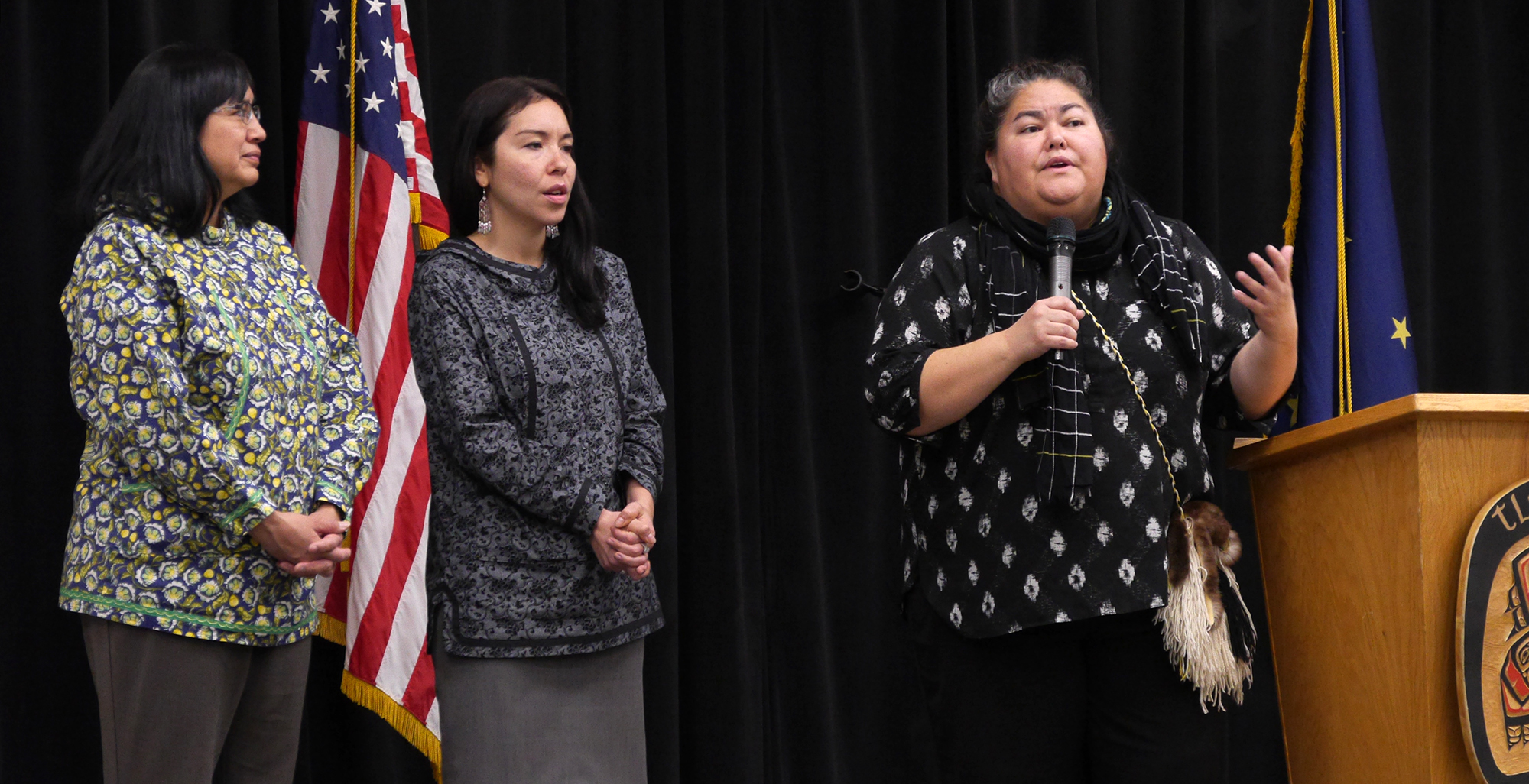 First Alaskans Institute officials discuss racism and reconciliation at the Elizabeth Peratrovich Hall on Thursday in Juneau. From the left are Angela Gonzales, Andrea Sanders and Liz Medicine Crow.(Photo by Skip Gray/360north)