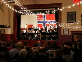 Petersburg High School's jazz band performs a two-hour concert at the Sons of Norway Hall, March 24, 2018. It was a fundraiser to buy plane tickets for 60 music students to attend Music Fest in Juneau, April 12-14. (Photo by Angela Denning/KFSK)
