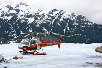 A TEMSCO helicopter sits on the Mendenhall Glacier in Juneau in 2009.