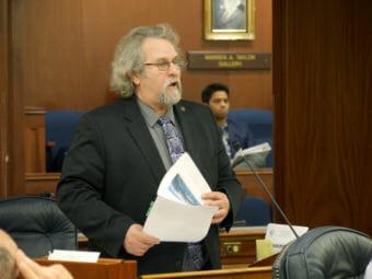 Rep. David Guttenberg, D-Fairbanks, speaks during a House Floor session on April 10, 2017.