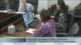Yaayuk Bernadette Alvanna-Stimplfle, center, testifies before the House Community and Regional Affairs Committee on Tuesday on the Alaska Native language resolution HCR 19. Alvanna-Stimpfle is from Nome, Alaska, and is a council member on the Alaska Native Language Preservation & Advisory Council. (Video still courtesy Gavel Alaska)