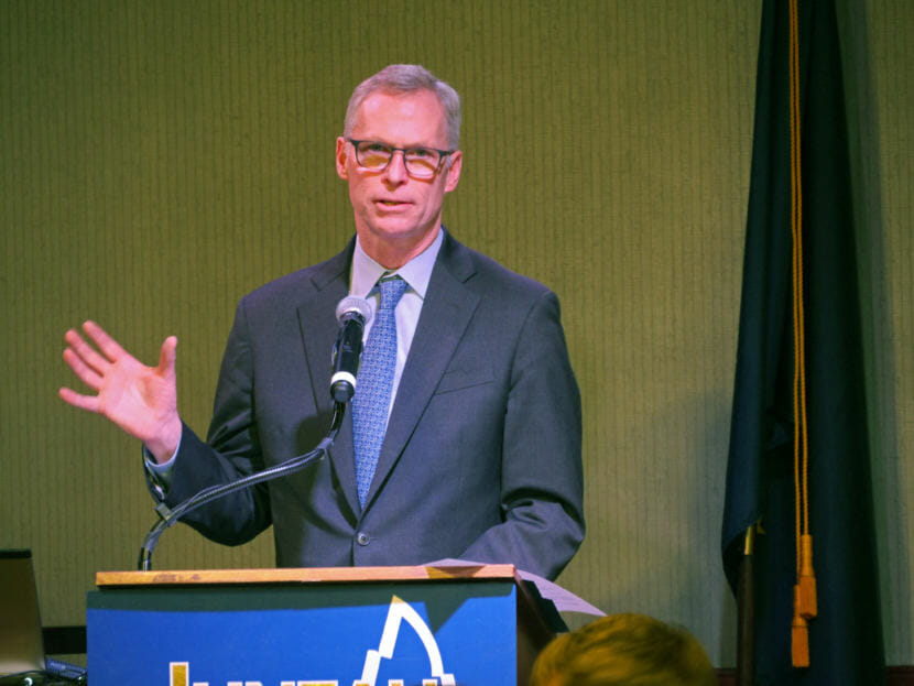 University of Alaska President Jim Johnsen delivers the State of the University Address at a Juneau Chamber of Commerce luncheon in Juneau on Feb. 16, 2017.