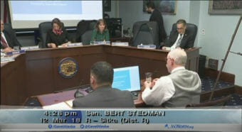 Sitka Republican state Senator Bert Stedman, bottom right, presents Senate Joint Resolution 13 to the Senate Resources Committee. (Video still courtesy Gavel Alaska)