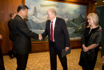 Gov. Bill Walker greets Chinese President Xi Jinping in April at the Captain Cook Hotel in Anchorage during Xi's stopover in Alaska on his return trip from a visit to Europe and Washington. First Lady Donna Walker, right, looks on. In November, Walker secured a preliminary agreement with China Petrochemical Corp., a.k.a. Sinopec Group, to advance a proposed $43 billion project to build a natural gas pipeline from the North Slope to Nikiski. The deal, if finalized, would enable export of LNG to China. (Photo courtesy Office of the Governor)