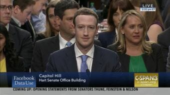 Mark Zuckerberg testified in the U.S. Senate Tuesday. (Video still courtesy C-SPAN)