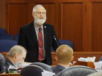 Rep. Paul Seaton, R-Homer, co-chair, House Finance Committee, gives an overview of House Bill 286 -- the state operating budget -- during the House floor session in the Alaska Capitol, April 2, 2018. (Photo by Skip Gray/360 North)