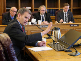 Alaska Commissioner of Revenue Sheldon Fisher testifies before the House Finance Committee, April 23, 2018. The committee was taking comments on House Bill 331, introduced at the request of Gov. Bill Walker. If passed, the bill would allow the state to sell bonds in order to pay tax credits to oil companies. (Photo by Skip Gray/360 North)