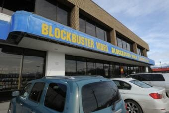 (ONE TIME ONLINE USE PERMISSION FROM ADN) The Blockbuster store at corner of Old Seward Highway and Huffman Road began selling its inventory on Tuesday, April 3, 2018, after the closure of the business on Sunday. (Phoot by Bill Roth/Anchorage Daily News)