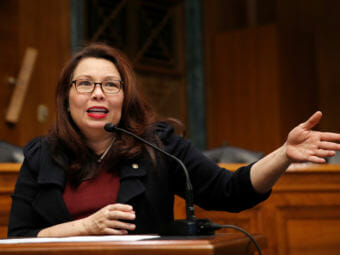 Sen. Tammy Duckworth, seen here in February on Capitol Hill, announced the birth of a daughter, making her the first U.S. senator to give birth while in office. (Photo by Alex Brandon/Associated Press)