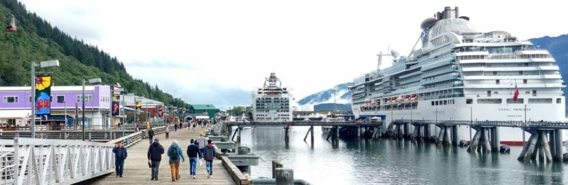 A pair of Panamax cruise ships docked in downtown Juneau on Aug. 30, 2017. (Photo by Jacob Resneck/KTOO)