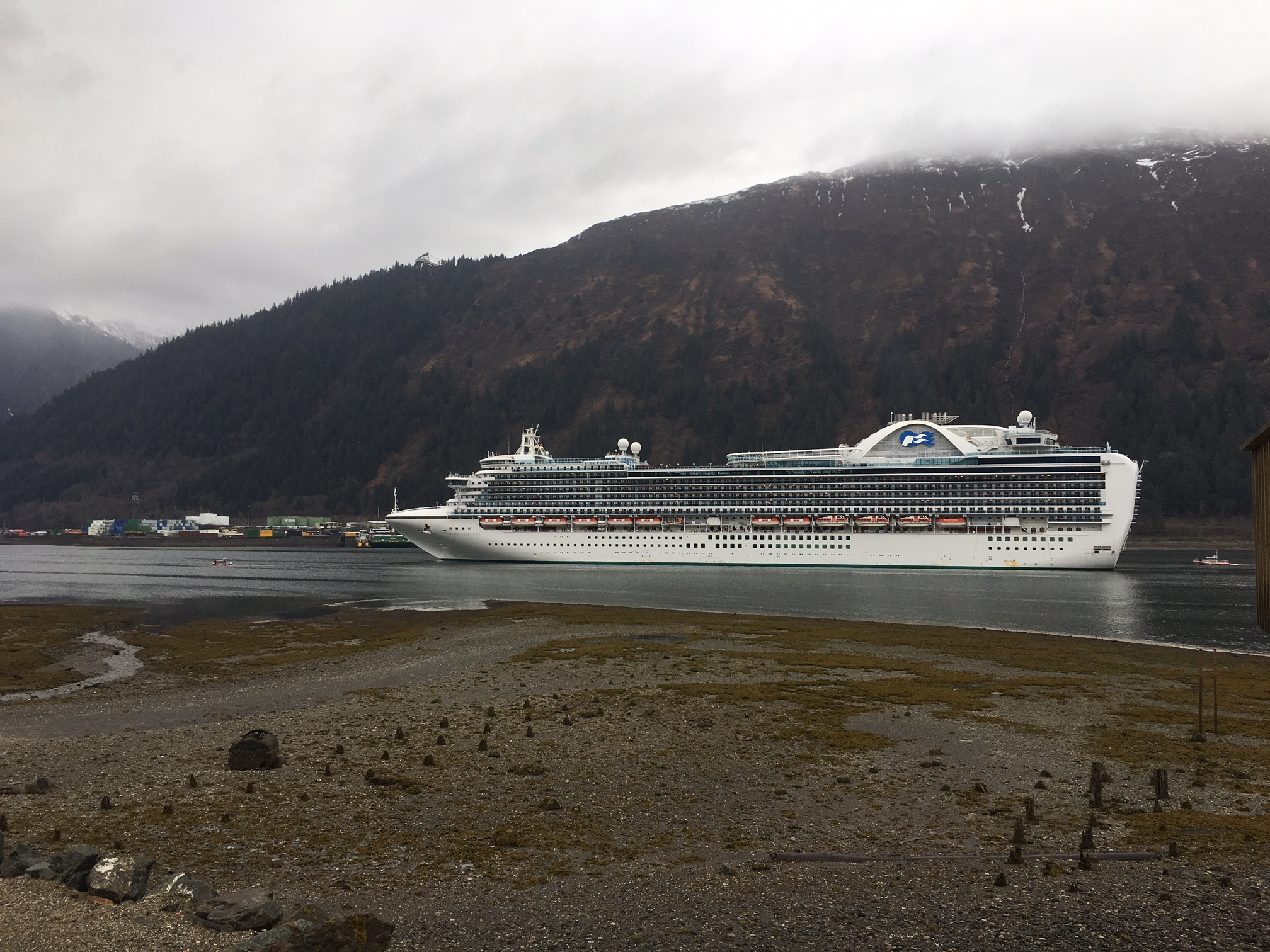 The Ruby Princess docks in Juneau on Monday, April 30, 2018. (Photo by Tim Olson/KTOO)