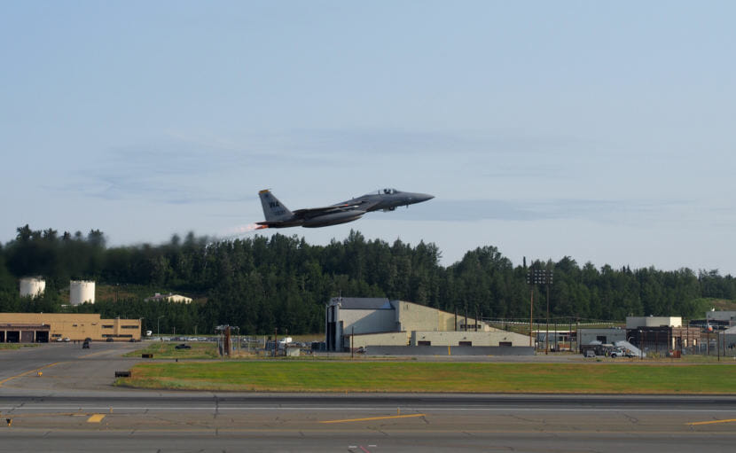 An fighter jet taking off from Joint Base Elmendorf-Richardson during exercises in 2015. (Photo by Zachariah Hughes/Alaska Public Media)