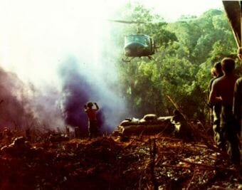 An UH-1B[D] helicopter prepares for a resupply mission for Co B, 1st Bn, 8th Inf, 4th Inf Div, during the operation conducted 20 miles southwest of Dak To, Vietnam. Dec. 10-16, 1967. (Photo courtesy of U.S. Army )