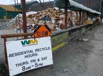 Cardboard and plastics pile up at the Juneau Recycling Center on March 28, 2018. Some recyclables are no longer accepted by China, one of the world's largest buyers. (Photo by Ed Schoenfeld/CoastAlaska News)