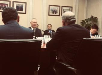 Gov. Bill Walker meets with Vice Premier Liu He in Beijing on Monday, May 21, 2018.