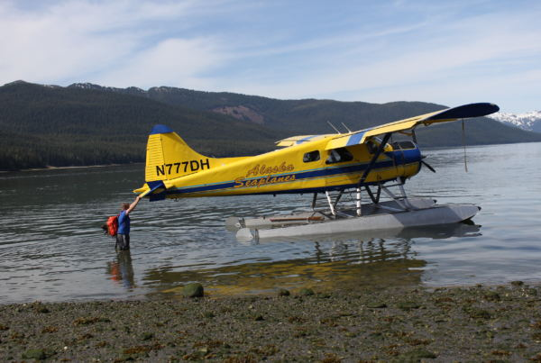 Dan Kirkwood says the part of this location's appeal is the float planes could make due without a dock. (Photo by Elizabeth Jenkins/Alaska's Energy Desk)