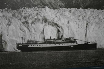 Historic photos of the Princess Sophia are featured in panels of a museum exhibit in Skagway that had its grand opening on May 11, 2018.