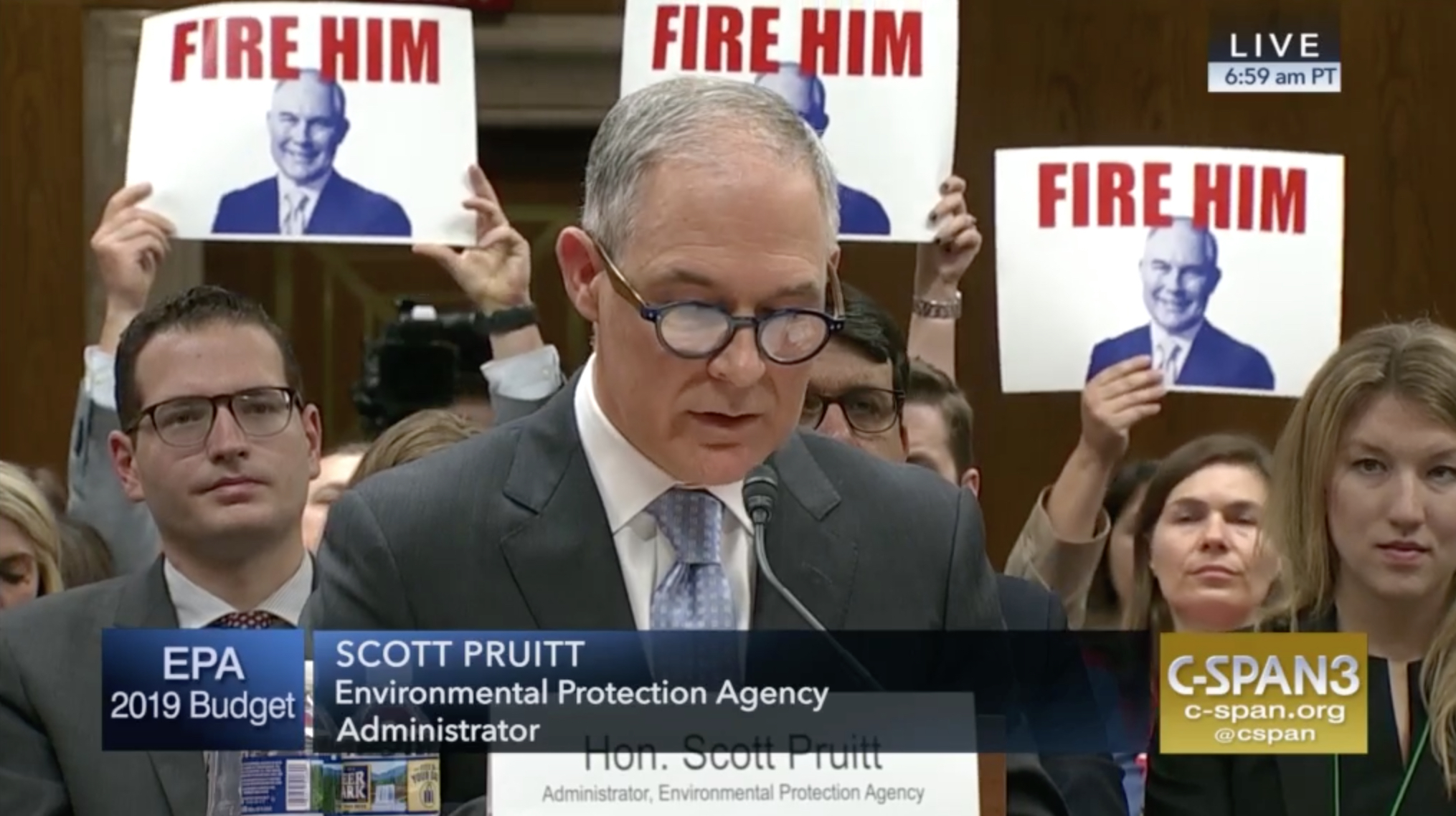 Environmental Protection Agency Administrator Scott Pruitt endured criticism from senators and protesters at a hearing Wednesday. (Video still courtesy C-SPAN)