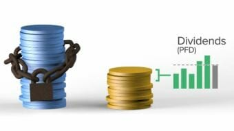 Two stacks of coins, representing the principal and the earnings of the Alaska Permanent Fund, with a graph showing how dividends (PFD) are calculated using income to the earnings.