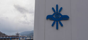 A Sealaska corporate logo adorns the roof of the Southeast Alaska Native corportation's headquarters in Juenau on May 2, 2018.