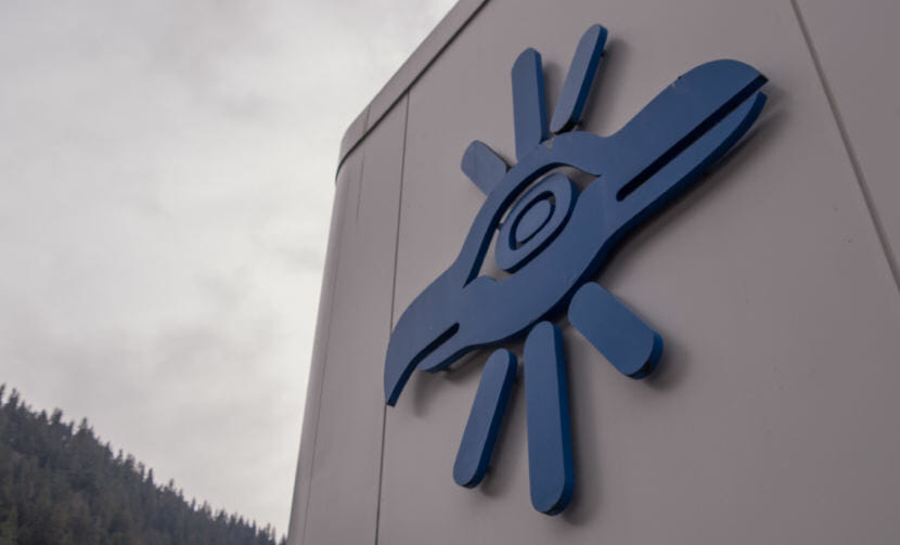 A Sealaska corporate logo adorns the roof of the Southeast Alaska Native corportation's headquarters in Juneau on May 2, 2018.
