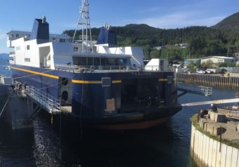 The new Alaska Class ferry Tazlina floats for the first time at the Vigor Alaska shipyard in Ketchikan in on May 16, 2018.