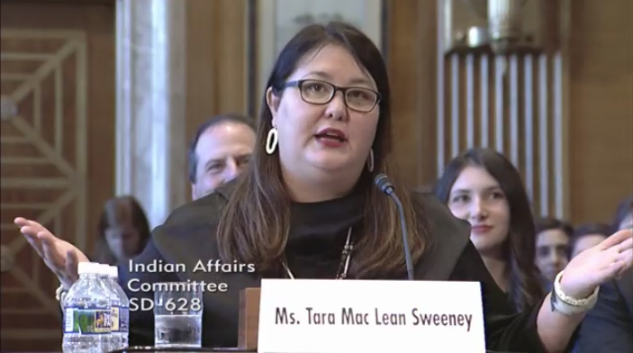 Tara Sweeney testifies Wednesday, May 9, 2018, before the U.S. Senate Committee on Indian Affairs (Video still courtesy Committee on Indian Affairs)