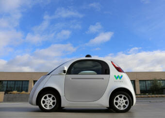 Google spin-off company Waymo's Firefly 1 reference vehicle. Waymo is one of seven companies that has notified Washington's Department of Licensing that they plan to test self-driving vehicles.