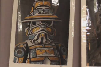 "A design created by Andy Everson blends traditional Native art with imagery from ""Star Wars."" (Video still by David Purdy/KTOO)"