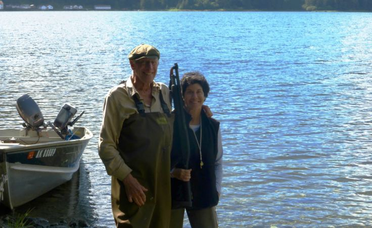 Avrum Gross and his oldest daughter Jody Gross pose for a photo at the family retreat off Chatham Strait.
