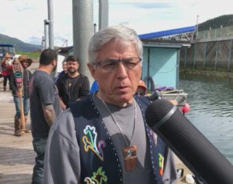 Alaska Lt. Gov. Byron Mallott talks about the significance of Celebration and its ties to Southeast Alaska Native culture. (Video still by David Purdy/KTOO)