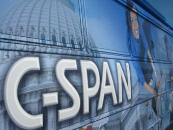The C-SPAN Bus visits South Valley Jr. High in Liberty, Missouri on May 19, 2009. Students could tour the 45-foot bus, which is a mobile production studio.