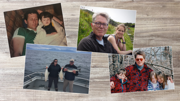 A photo collage of Kami Miller with her father, Steve, and reporter Emily Russell with her father, Mark. (Photos courtesy of Kami Miller and by Emily Russell/Alaska Public Media)
