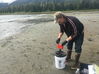 Petersburg Indian Association's Brandon Thynes caps a bottle of ocean water at Sandy Beach. The sample is a part of Sitka Tribe's efforts to study ocean acidification. (Photo by Alanna Elder/KFSK)