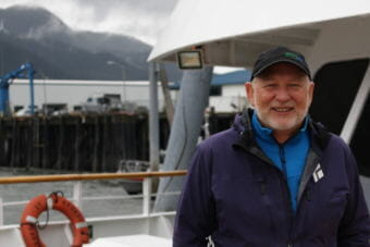 Dan Blanchard aboard an UnCruise ship. (Photo by Elizabeth Jenkins/Alaska's Energy Desk)
