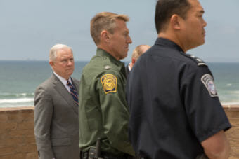 Attorney General Jeff Sessions attends a press conference at Friendship Park in San Diego on the border between the United States and Mexico on May 7, 2018.