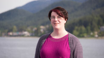 Jennifer Fletcher poses for a portrait on June 5, 2018, at Overstreet Park in Juneau. She filed a lawsuit against the state of Alaska claiming discrimination against transgender people.