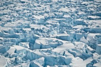 Crevasses near the grounding line of Pine Island Glacier, Antarctica. (Photo by Ian Joughin, University of Washington)