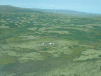 In this 2011 photo, an exploration camp sits on top of the Pebble deposit, one of the largest undeveloped copper, gold and molybdenum deposits in the world. (Photo courtesy U.S. Environmental Protection Agency)