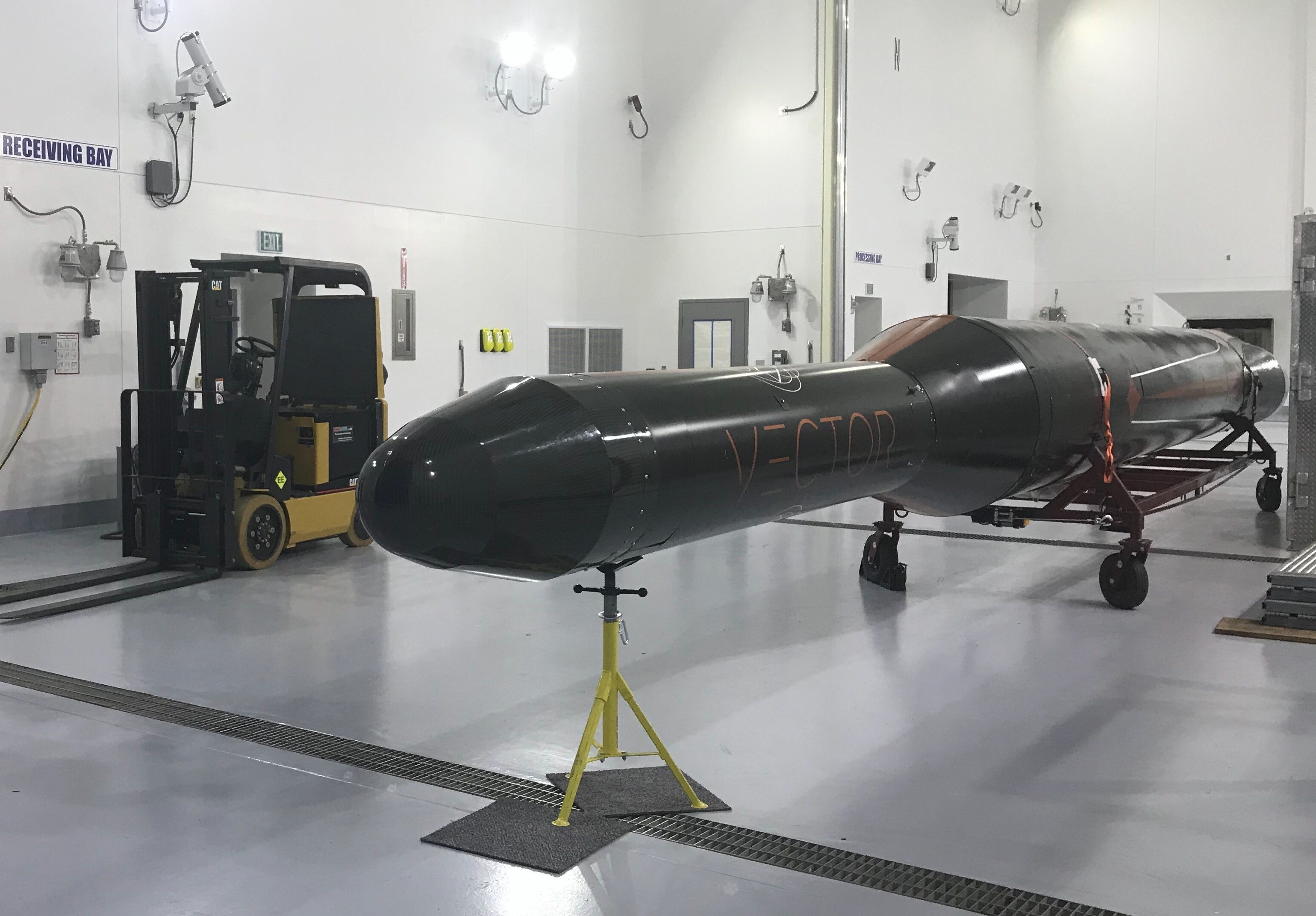 A Vector test rocket, or vehicle, housed inside the Alaska Aerospace Corporation facility. (Photo by Daysha Eaton/KMXT)