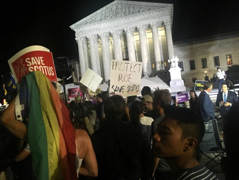 Pro-Roe v. Wade protesters gather outside the U.S. Supreme Court in Washington D.C. on the night of Monday, July 9, 2018. The protest broke out just after the president announced his nominee to fill retiring Justice Anthony Kennedy's seat on the court.