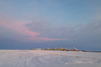 ConocoPhillips' Alpine facility on the North Slope. Conoco's Scott Jepsen said a new processing facility in NPR-A would be about the same size. (Photo by Elizabeth Harball/AED)