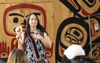 Mique'l Dangeli teaches seventh- through ninth-grade students at the Northwest Community College longhouse in Terrace, British Columbia. (Photo courtesy Mique'l Dangeli)