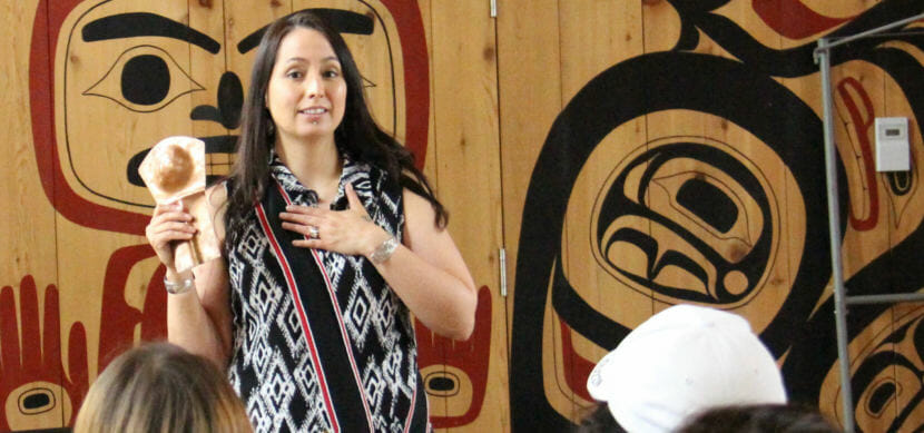 Mique'l Dangeli teaches seventh- through ninth-grade students at the Northwest Community College longhouse in Terrace, British Columbia. (Photo courtesy Mique'l Dangeli)