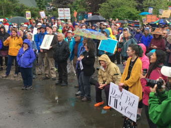 Juneau residents rally against family separation during the Families Belong together Rally on June 30, 2018. (Photo by Adelyn Baxter/KTOO)