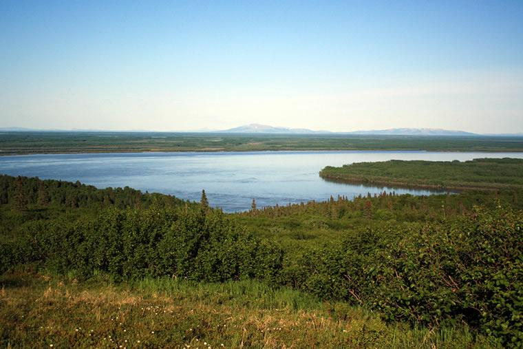 The Yukon River at the Alaska Department of Fish and Game Pilot Station sonar station. The distance between the two sonar-counting stations on either bank is 3,280 feet wide. (Photo courtesy Alaska Department of Fish and Game)