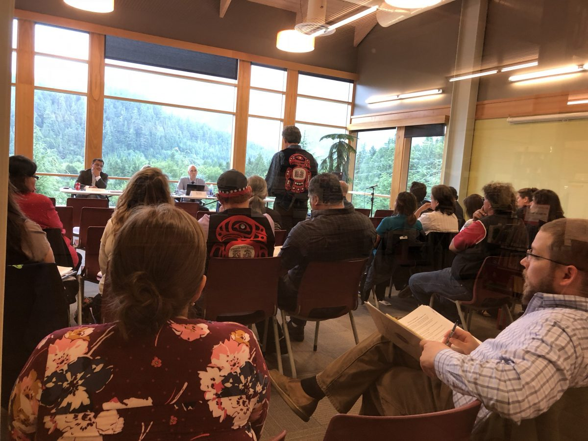 The consultation held in the Ketchikan Public Library on August, 3, 2018. (Photo by Liam Niemeyer/KRBD)