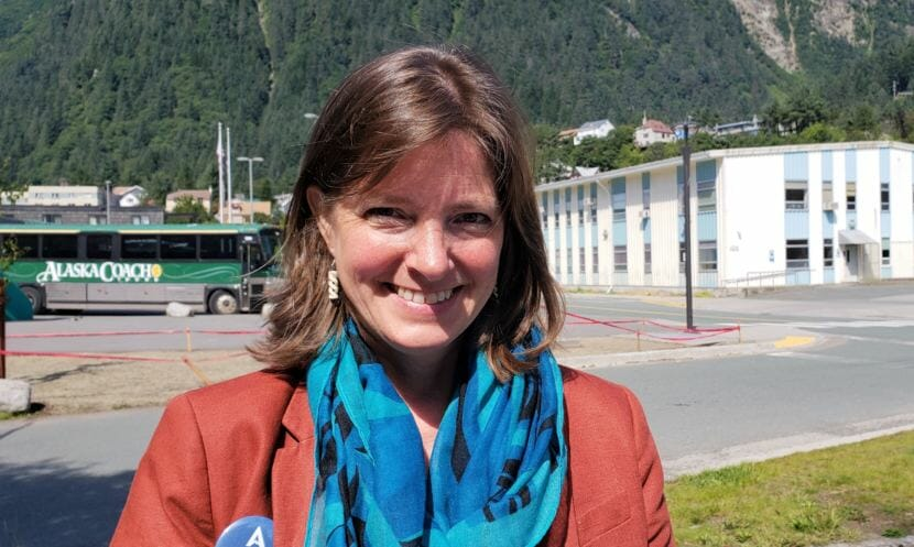 Congressional candidate Alyse Galvin poses for a photo outside KTOO in Juneau on Sunday, Aug. 5, 2018. Galvin has put together the best-funded challenge to Don Young's House tenure since 2008.